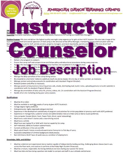 ADTC Thank You Jobs Dance Camp – Camp Counselor Job Description
